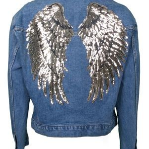 Denim Jackets with  Angel Wings For Adults Kids